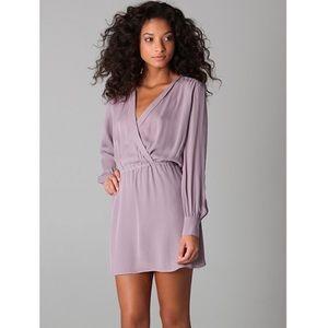 Parker Lavender Silk Faux Wrap Mini Dress